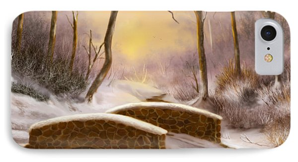 IPhone Case featuring the painting Sunlight In Winter by Sena Wilson