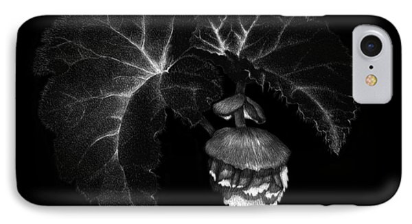 IPhone Case featuring the drawing Sunlit Begonia by Sandra LaFaut