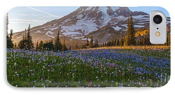 Sunlit Rainier Meadows Phone Case by Mike Reid
