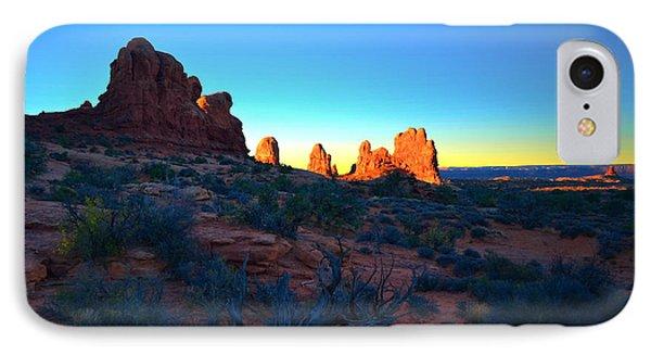 Sunrise At Arches National Park Phone Case by Tara Turner