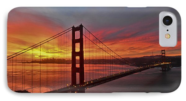 Sunrise Over The Golden Gate Bridge  IPhone Case by Peter Dang
