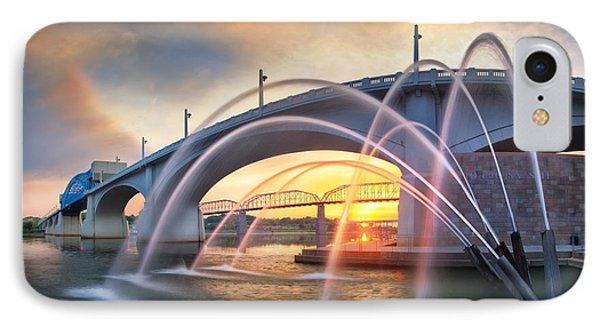 Sunrise At John Ross Landing Fountain IPhone Case