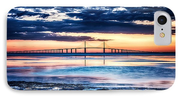 Sunrise At The Skyway Bridge Hdr Dec 2010 IPhone Case by Michael White