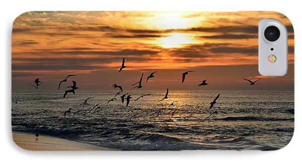 IPhone Case featuring the photograph Sunrise Colors Over Navarre Beach With Flock Of Seagulls by Jeff at JSJ Photography