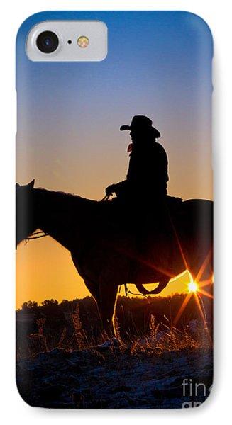 Sunrise Cowboy Phone Case by Inge Johnsson