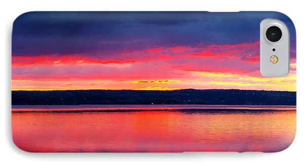 Sunrise In Cayuga Lake Ithaca New York Panoramic Photography Phone Case by Paul Ge