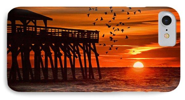 Sunrise In Myrtle Beach With Birds Flying Around The Pier IPhone Case by Vizual Studio