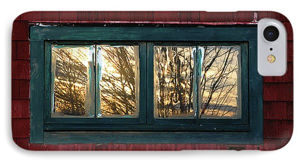 Sunrise In Old Barn Window Phone Case by Susan Capuano