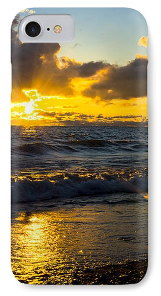 Sunrise Lake Michigan August 30th 2013 001  IPhone Case by Michael  Bennett