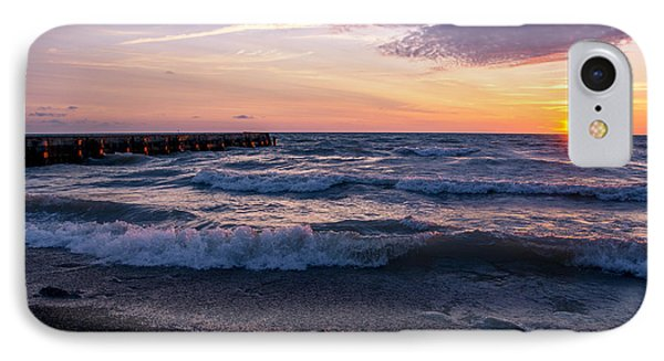 Sunrise Lake Michigan August 8th 2013 Wave Crash IPhone Case by Michael  Bennett