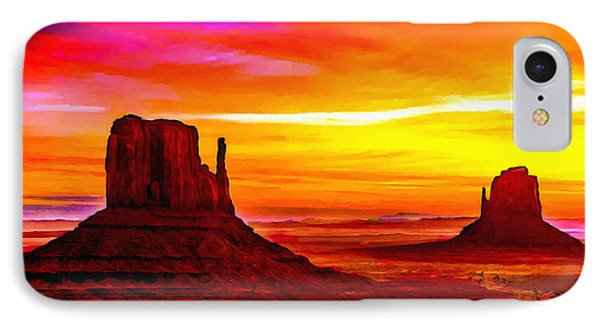 Sunrise Monument Valley Mittens IPhone Case by Bob and Nadine Johnston