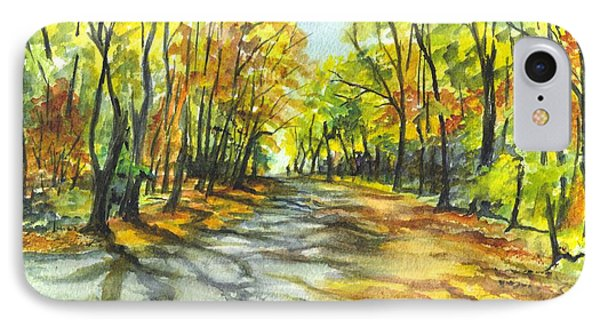 Sunrise On A Shady Autumn Lane Phone Case by Carol Wisniewski