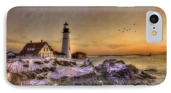 Sunrise On Cape Elizabeth - Portland Head Light - New England Lighthouses IPhone Case by Joann Vitali