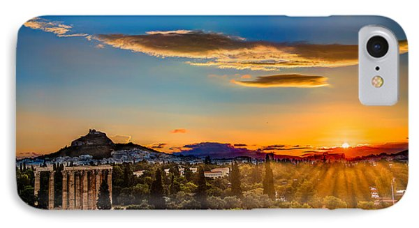 Sunrise On The Temple Of Olympian Zeus IPhone Case by Micah Goff