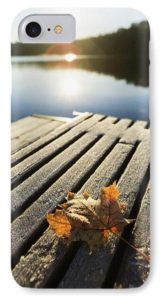 Sunrise Over Leaf On Floating Dock In IPhone Case