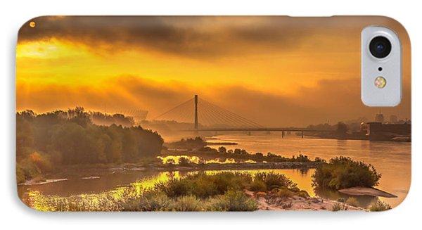 Sunrise Over Swiatokrzyski Bridge In Warsaw IPhone Case by Julis Simo