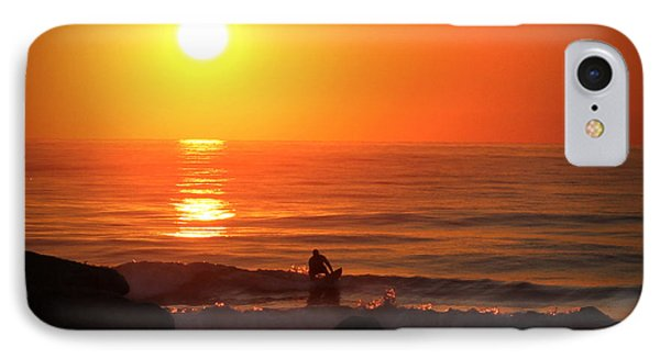 IPhone Case featuring the digital art Sunrise Surfer by Phil Mancuso