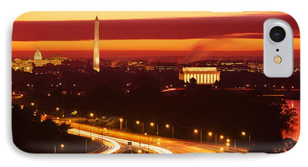 Jefferson Memorial iPhone 7 Case - Sunset, Aerial, Washington Dc, District by Panoramic Images