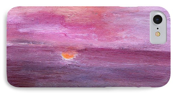 IPhone Case featuring the painting Sunset And Ocean by Vadim Levin