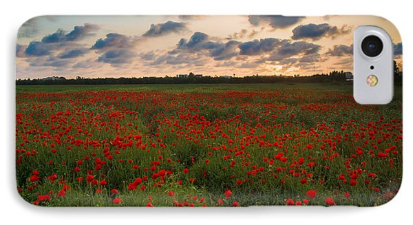 Sunset And Poppies IPhone Case by Meir Ezrachi