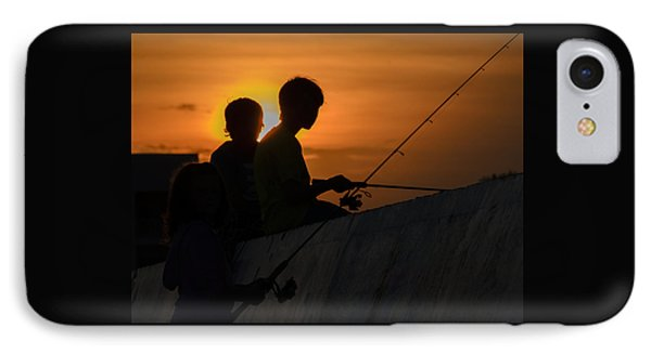 Sunset Anglers IPhone Case by Keith Armstrong