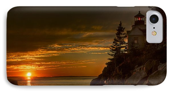 Sunset At Bass Harbor Lighthouse Phone Case by Oscar Gutierrez