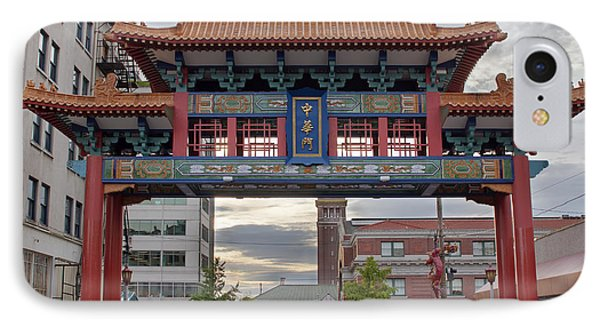 IPhone Case featuring the photograph Sunset At Chinatown Gate In Seattle Washington by JPLDesigns