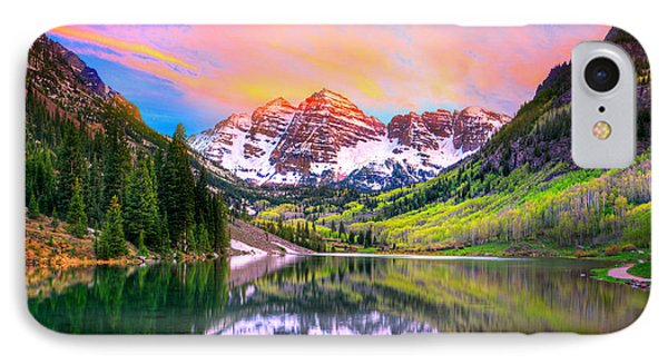 Sunset At Maroon Bells And Maroon Lake Aspen Co IPhone Case