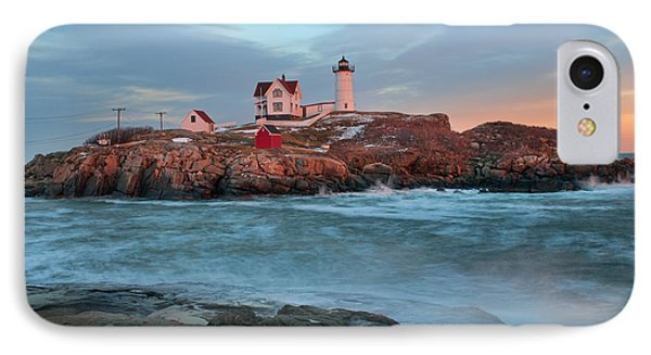 Sunset At Nubble Lighthouse IPhone Case by Sharon Seaward