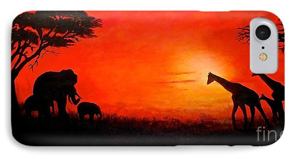 IPhone Case featuring the painting Sunset At Serengeti by Sher Nasser