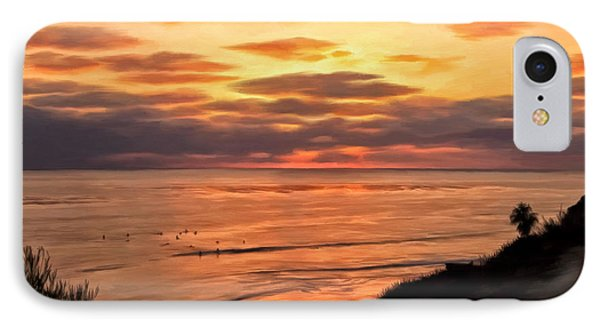 IPhone Case featuring the painting Sunset At Swami's Encinitas by Michael Pickett