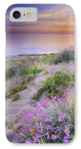 Sunset At The Beach  Flowers On The Sand Phone Case by Guido Montanes Castillo