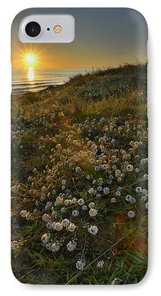 Sunset At The Beach  White Flowers On The Sand Phone Case by Guido Montanes Castillo