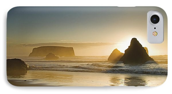 Sunset Behind Offshore Rocks Bandon Phone Case by Philippe Widling