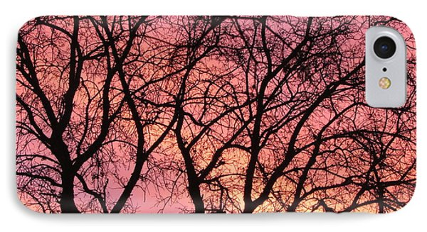 Sunset Behind The Trees Phone Case by Debra Madonna