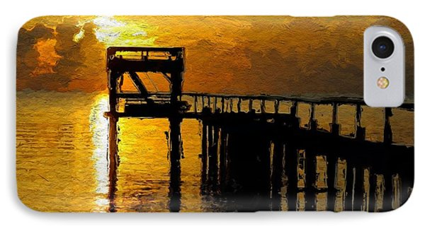 IPhone Case featuring the painting Sunset By The Jetty by Wayne Pascall