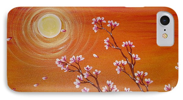 Sunset Cherry Blossoms Phone Case by Angie Butler