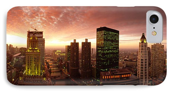 Sunset Cityscape Chicago Il Usa IPhone Case by Panoramic Images