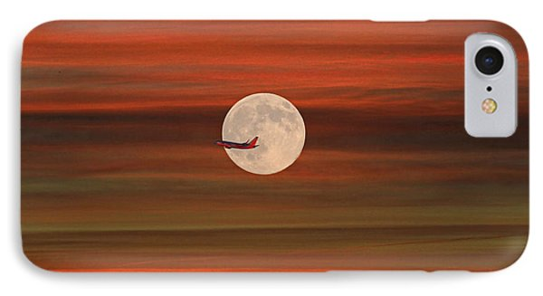 Sunset Flight With Full Moon IPhone Case by Donna Kennedy