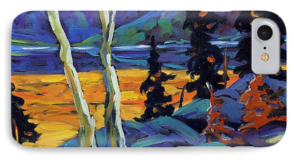 Sunset Geo Landscape Original Oil Painting By Prankearts IPhone Case