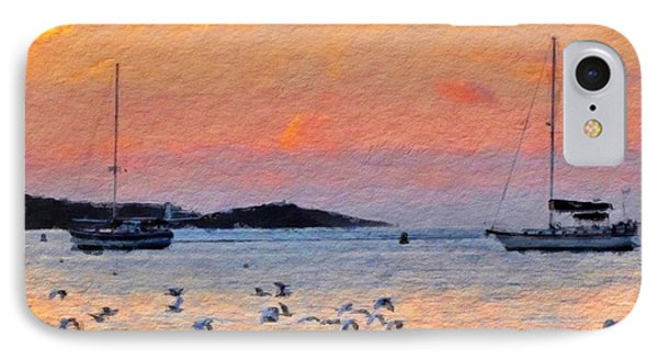 Sunset Harbor With Birds - Square IPhone Case by Lyn Voytershark