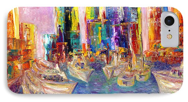 Sunset In A Harbor IPhone Case by Helen Kagan