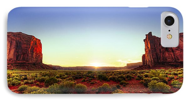 Sunset In Monument Valley Phone Case by Alexey Stiop