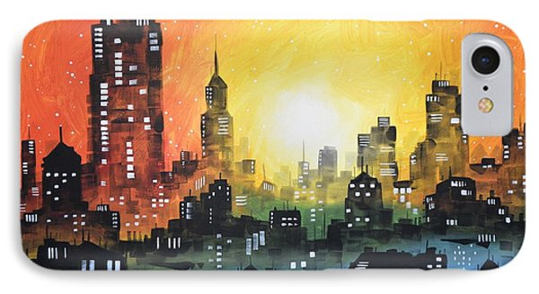 IPhone Case featuring the painting Sunset In The City by Amy Giacomelli