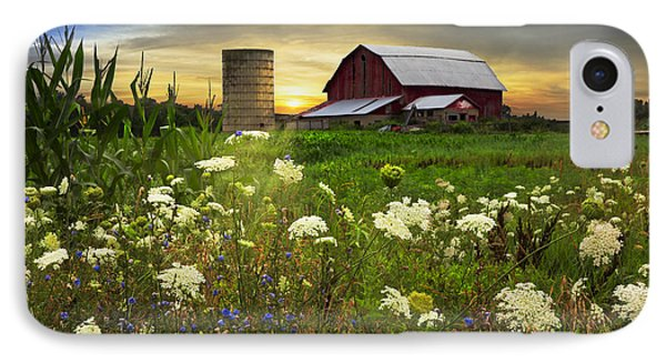 Sunset Lace Pastures Phone Case by Debra and Dave Vanderlaan