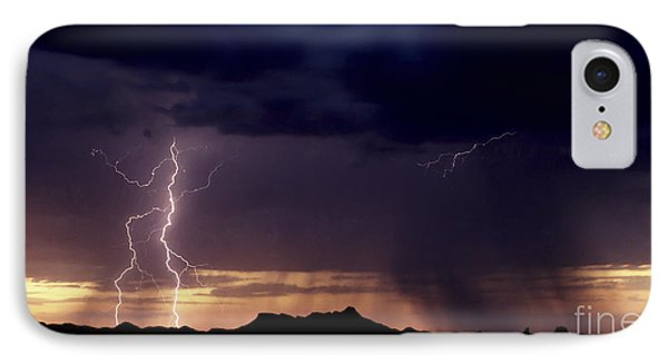 IPhone Case featuring the photograph Sunset Lightning-signed by J L Woody Wooden