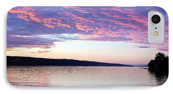 Sunset On Cayuga Lake Cornell Sailing Center Ithaca New York IPhone Case by Paul Ge