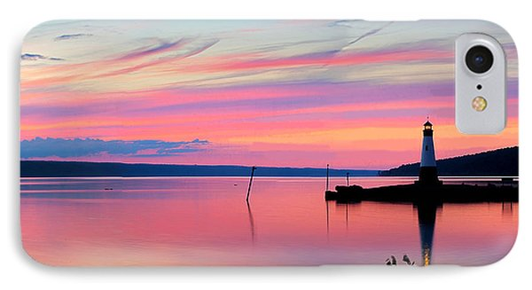 Sunset On Cayuga Lake Ithaca New York IPhone Case by Paul Ge
