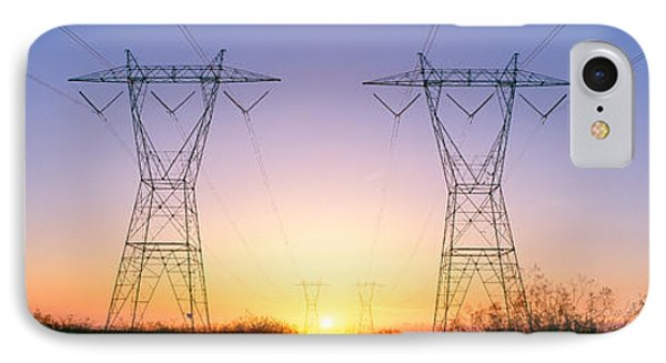 Sunset On Electrical Transmission IPhone Case by Panoramic Images