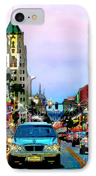 IPhone Case featuring the digital art Sunset On Hollywood Blvd by Jennie Breeze